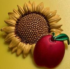 Tona Signed Pin Brooch Apple Sunflower Enameled Gold Tone