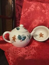 Hartstone Vintage Christmas Teapot And Cookie Dish, Great Gift!