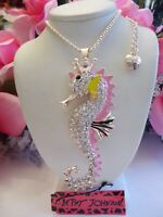 BETSEY JOHNSON CUTE  CRYSTAL AND ENAMEL CROWNED SEAHORSE PENDANT CHAIN NECKLACE