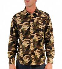 VOLCOM Harry MILITARY Camo SKATE BOARD Cotton FLANNEL Long Sleeve SHIRT Men sz S