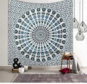 Indian Mandala Tapestry Queen Wall Hanging Throw Cotton White Bed Cover Decor