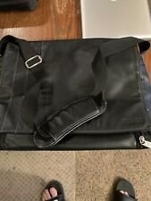 Kenneth Cole Reaction Black Leather Laptop Work Briefcase