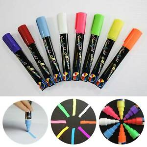 8 Liquid Chalk Pens Marker Reversible Neon Colours Glass Wipe Clean 6mm Dual Nib