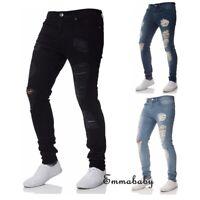 Men's Ripped Skinny Jeans Stretch Frayed Biker Slim Fit Denim Pants Trousers US