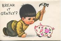 VINTAGE BOY CHILD BLACK HAIR BROWN EYES HAMMER PIG PIGGY BANK CRYING HAMMER CARD