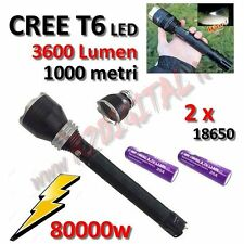 sLAMPADA TORCIA POLICE XML 80000W CREE LED T6 BATTERIA RICARICABILE POWER ZOOM