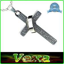 Cross prayer Our Father Necklace with pendant Stainless steel ring Silver NK14
