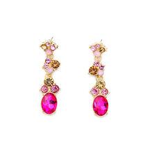 NEW Exquiste J CREW Magnellian Pink Yellow Orange Gemmed Gold Dangling Earrings