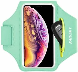 Cell Phone Armband with Zipper Pocket for Car Key Mint Green (Up to 6.7'')