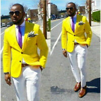 Men Yellow Jacket Suit Blazer Groom Tuxedos Casual Dinner Party Suit Custom Prom