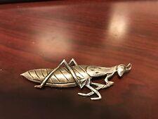Vintage Sterling 3 Inch Grasshopper Brooch Pin Stamped Sterling