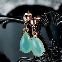 18ct rose gold GF tear drop jade green stone stud dangle earrings fashion