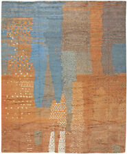 Moroccan Shaggy Wool Rug with Tribal Design in Shades of Blue and Orange N10761