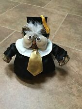 "6"" VINTAGE 1999 graduation  OWL cap n gown STUFFED ANIMAL PLUSH bean TOY j81 exc"