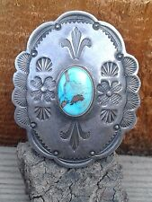 Vintage Native American Navajo Sterling Silver & Turquoise Brooch Pin