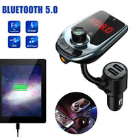 Bluetooth 5.0 Wireless Car Charger FM Transmitter AUX MP3 Adapter 2 USB 1.4-inch