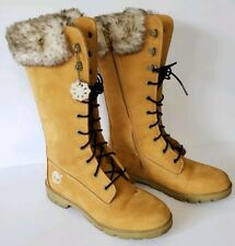 "Timberland Womens Sz 5 Sz 6 Wheat 12"" Tall Faux Fur Lace Up Boots Side Zip w/Box"