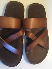 NEW!! MADDEN 'M-CROSS' MENS STRAPPY LEATHER FLIP FLOP SANDALS/SLIDES SIZE 11M