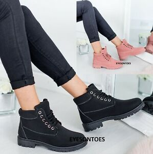 LADIES WOMENS LACE UP ANKLE GRIP SOLE WINTER WARM COMBAT WALKING TRAINERS BOOTS