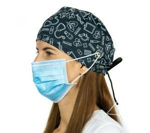 Black Print Surgical Cap Women with Buttons I Nurse Cap I Scrub Cap