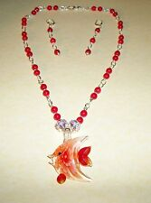 HAND MADE RED CORAL NECKLACE W/GLASS FISH PENDANT/EARRINGS
