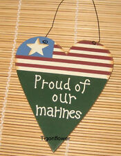 Country Wood Cut Out Sign Patriotic Heart Proud Of Our MARINES Buy 2 get 1 free