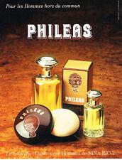 PUBLICITE ADVERTISING 034   1986   NINA RICCI  ligne pour homme PHILEAS  parfum