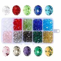 300 Pcs Cuentas De Vidrio, 8Mm 10 Colores Perlas De Facetas Perlas De Crist Y3Q6