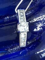 Ross Simons CZ  Pendant Necklace Sterling Silver 925 Chain 18 in.