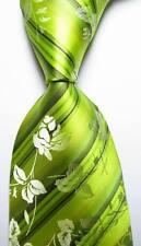 New Classic Floral Striped Green Black JACQUARD WOVEN Silk Men's Tie Necktie