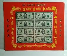 $2 8888 Lucky Money Sheet Year of Monkey 8 Uncut Notes Bank Dallas 2009 Series