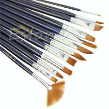 12Pcs Acrylic Oil Watercolor Painting Supplies Artist Nylon Hair Paint Brush Set