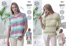 Knitting Pattern Womens Easy Knit Long Sleeve Split Back Jumper 4828 King Cole