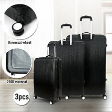 3 Pcs ABS Carry On Luggage Set Travel Bag Spinner Suitcase Hardside Expandable