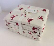 Pottery Barn JUMPING REINDEER Organic Flannel QUEEN Sheet Set ~ Deer~ NEW w/TAGs