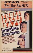 THREE FACES EAST Movie POSTER 27x40 Constance Bennett Anthony Bushell William