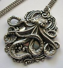 New STERLING SILVER PLTD Nautical Steampunk LRG OCTOPUS Kraken PENDANT NECKLACE