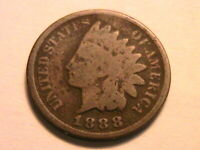 1888 Nice G original Good Indian Head Cent Brown Smooth Small One Penny USA Coin