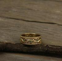 0.10Ct Round Cut Emerald Eternity Wedding Ring Band 14K Yellow Gold Finish