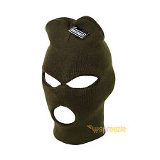 Olive Green Ski Mask Beanie 3 Hole Knitted Cap Hat Warm Face Winter Snow Unisex
