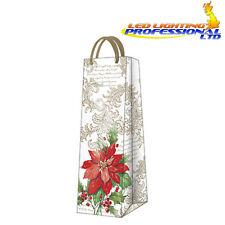 CHRISTMAS Printed Paper Present Gift Bag STYLISH POINSETTIA Bottle Flower Red