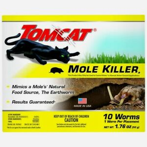 TOMCAT Mole Killer 10 WORMS Earthworm Shaped Bait Pest Rodent Control Scotts NEW