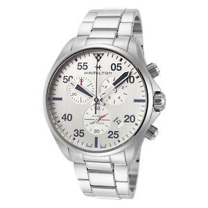 Hamilton Men's Khaki Aviation H76712151 44mm Silver Dial SS Chronograph Watch