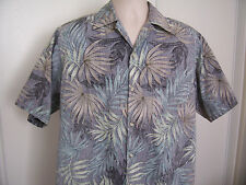 Go Barefoot Short Sleeve Leaf Print Hawaiian Shirt Reverse Print Cotton Men's M