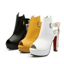 Women's Synthetic Leather Shoes Platform High Heels Ankle Bucke Peep Toes Pumps