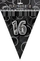 GLITZ BLACK & SILVER FLAG BANNER 16TH BIRTHDAY 3.6M/12' BIRTHDAY PLASTIC BANNER