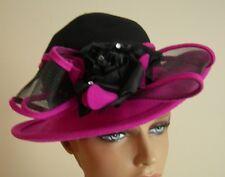 Vintage Women's Wool Rolled Brim Hat Fuschia/Black w/ Black Rose and Mesh Ribbon