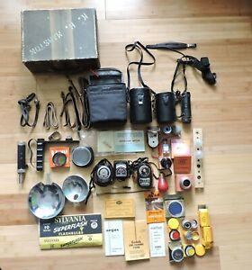 Vintage Camera Accessories Lot - Filters - Light Meters - Lens Cases