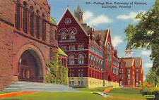 BURLINGTON, VT  Vermont   COLLEGE ROW-UNIVERSITY OF VERMONT   c1940's  Postcard