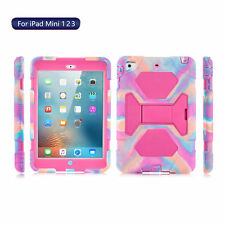 Kids Shockproof Hybrid Colorful Rubber Case With Kickstand For iPad mini 1 2 3